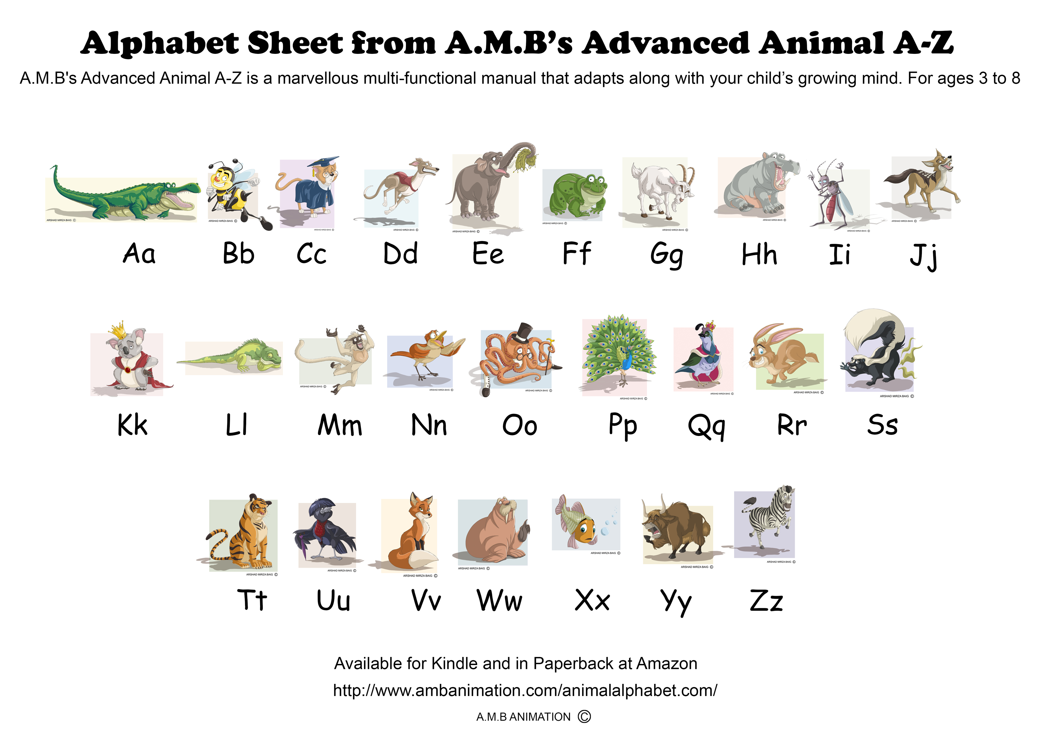 Animal alphabet a z learning sheet for A to z animals coloring pages